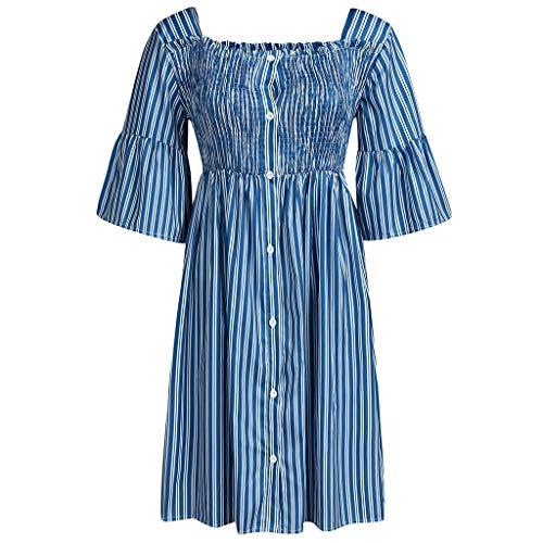 Damenkleid, Vintage, mittelalterlich, Prinzessinnen-Kleid, für Frauen, lässig, gestreift, Knopf, kurze Ärmel, Empire Kleid mit hoher Taille, Plissee, Sommerkleid, Trapez-Kleid (S-2XL) Gr. Small, blau