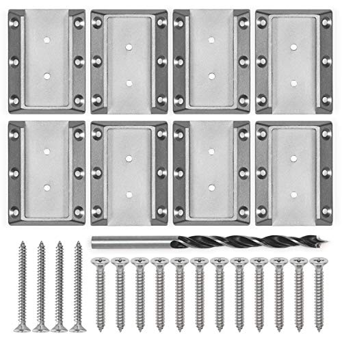WOWSER Design High Strength Stainless Steel Deck Railing Connectors with Screws for 2x4 (Actual 1.5x3.5) inch Stair Wood Handrail (4 Pairs, Silver)