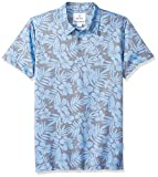 Amazon Brand - 28 Palms Men's Relaxed-Fit Performance Cotton Tropical Print Pique Golf Polo Shirt, Washed Blue Hibiscus Floral, Large