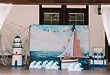Cassisy 2,2x1,5m Vinilo Cumpleaños Telon de Fondo Bebé Decoración de 1er cumpleaños Vista al mar Estilo Marinero Mirador de la Torre Fondos para Fotografia Party Photo Studio Props Photo Booth