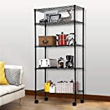 5 Tier Wire Shelving Unit Storage Metal Shelf Standing Shelf Units NSF Heavy Duty Height Adjustable Garage Shelving 14' W x 30' L x 60' H with Wheels Large Commercial Shelving Black
