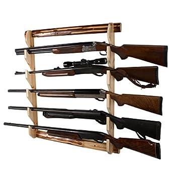 Rush Creek Creations Rustic Gun Wall Storage Rack - Handcrafted Solid Pine - Easy to Assemble 5 gun rack