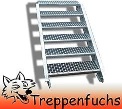 ohne Gel/änder feuerverzinkte Stahltreppe mit 600 mm Stufenl/änge als montagefertiger Bausatz Gitterroststufe ST1 Anstellh/öhe variabel von 216 cm bis 260 cm Au/ßentreppe 13 Stufen 60 cm Laufbreite