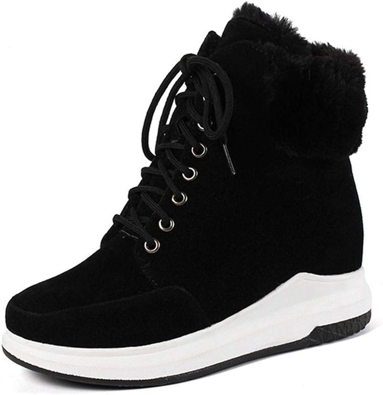 Fashion shoesbox Women's Winter Snow Ankle Boots Fur Platform Lace Up Bootie High Top Sneaker Hidden Wedge Short Boots