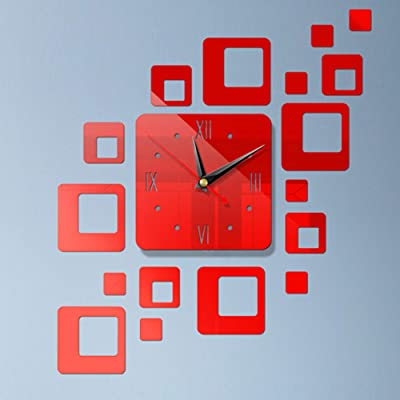 ZZH Acrylic Combined Mirror Wall Clock Sticker Removable Wallpaper Large Wall Clock,Red