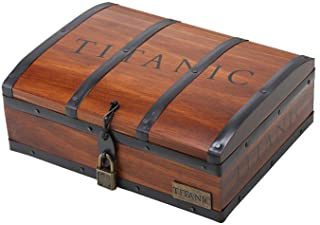 Titanic Necklace Heart of The Ocean Crystal Pendant with Pure Silver Chain in A Wooden Gift Wrap Box
