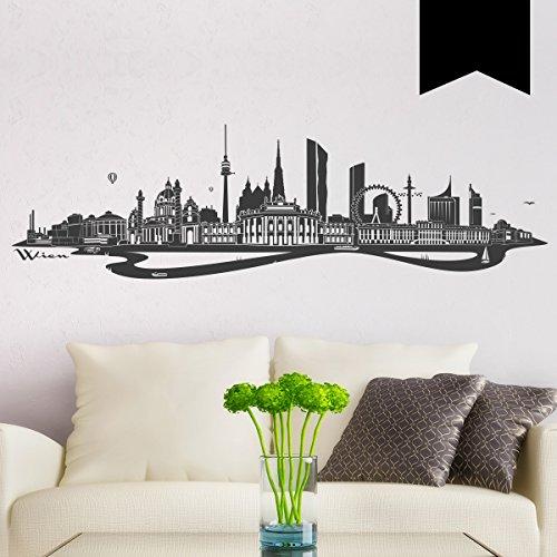 WANDKINGS Wandtattoo - Skyline Wien (mit Fluss) - 140 x 40 cm - Schwarz - Wähle aus 6 Größen & 35 Farben