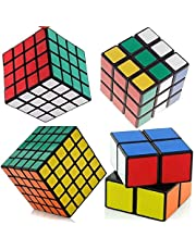SET OF 4 Rubiks Cube Speed Puzzle Magic 2x2 3x3 4x4 5x5 Kids Toy