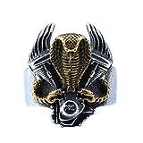 PAMTIER Hommes Acier Inoxydable Moteur de Moto Biker Ring Cru Cobra Serpent Animal Band Noir Taille 70