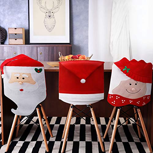 Tatuo 4 Pieces Christmas Chair Covers Decor, Santa Claus Red Hat Snowflake Chair Xmas Cap, Kitchen Dining Chair Slipcovers Sets for Christmas Holiday Festive Decorations (Red Santa Hat)