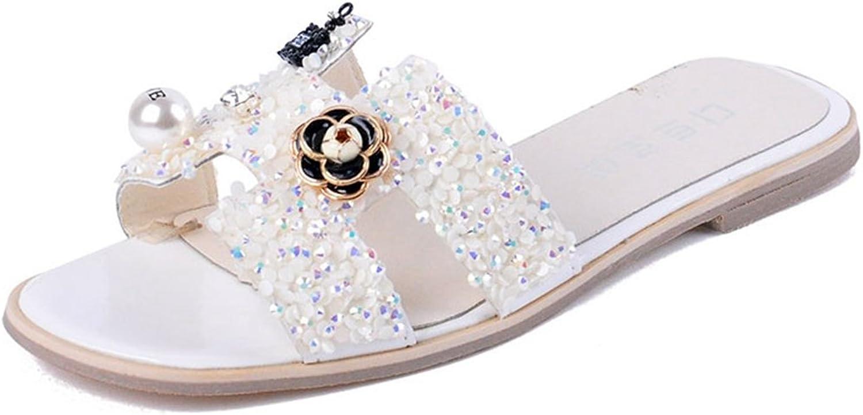 U-MAC Womens Flat Slide Sandal Fashion CZ Rhinestone Inlaid Comfy Non-Slip Summer Slip-On Beach Slipper