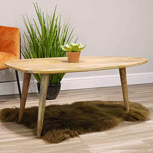 Aztec Solid Mango Wood Coffee Table | Side Table with Curved Edges