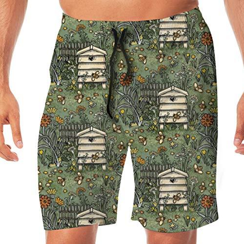 Busy Bee Garden Men's Beachwear Slim Fit Summer Holiday Swim Trunks Quick Dry Striped Swim Shorts-Large