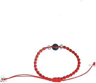 VOS Lifestyle Bracelets VOS Diffuser Bracelet | Bracelets Handmade Red Waxed String Wrap Bracelet for Men & Women 1 Black Lava Rock Beads | Unisex Handcrafted Pull Cord Adjustable 6.0-8.0 Inch Wrist | Hot Sauce