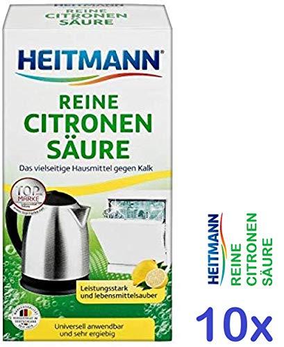 Heitmann Reine Citronensäure: Universalentkalker für Küche und Bad, natürlicher Entkalker, 10x375 Gramm