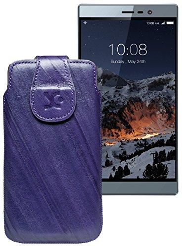 Original Suncase Tasche für Switel eSmart M3 | Leder Etui Handytasche Ledertasche Schutzhülle Hülle Hülle / in wash-dunkel-lila
