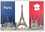 Imán para nevera Illustration Of Paris City Skyline con bandera de Francia