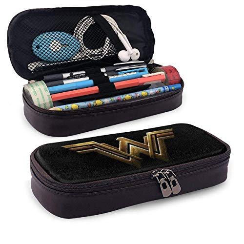 Leather Mäppchen Anime Wonder Woman Pen Case Pouch Holder Stationery Cosmetic Makeup Double Zipper Bag for Adults Girls Boys School Office
