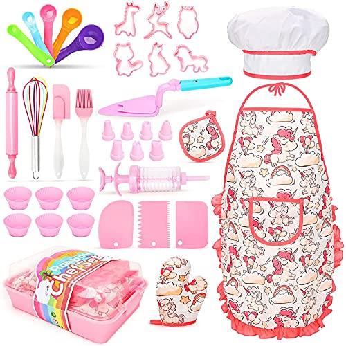 Accessori Cucina Bambini 3-8 Anni con Grembiule Bambina, Guanti, 40 Pezzi Set Cucina Giochi e Regalo per Ragazze 3 4 5 6 7 8 Anni