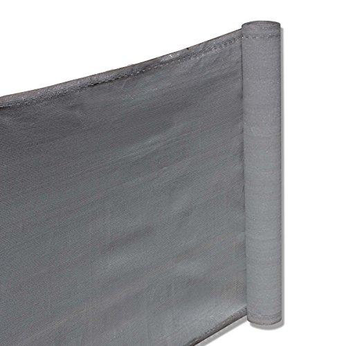 nxtbuy Balkon Sichtschutz 0,9 x 15 m (3 x 5 m) - Balkonbespannung aus hochwertigem HDPE-Gewebe - Balkonverkleidung mit gewebten Ösen und 33m Befestigungskordel, Farbe:Grau