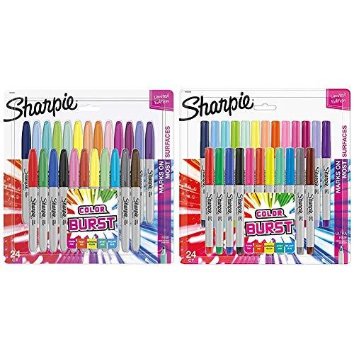 Sharpie Color Burst Markers, Fine Point, 24 Ct & 1949558 Color Burst Permanent Markers, Ultra Fine Point, Assorted Colors, 24-Count