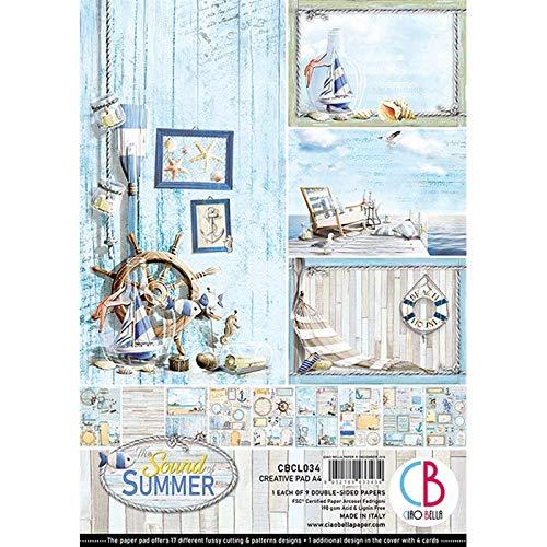 CIAO BELLA PAPER CBCL034 Sum Pap PAD A4 9/PKG, Sound of Summer, 9 Designs/je 1, Einheitsgröße