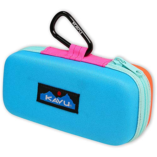 KAVU Solar Flare Semi Hard Accessory Case for Phone Sunglasses Electronics with Carabiner Clip-Surf Dunes