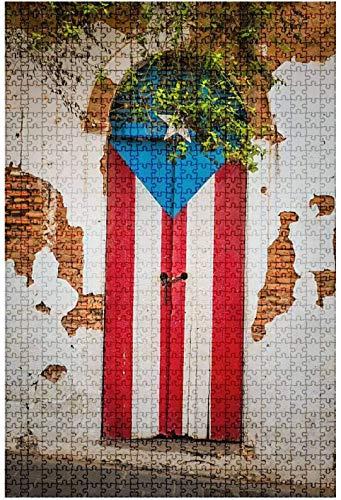 Rompecabezas de madera 1000 piezas Puerta de una casa en ruinas en San Juan Puerto Rico Isla colorida Rompecabezas de mesa divertidos y desafiantes Juego Juguetes Regalo Decoración para el hogar-Puzz