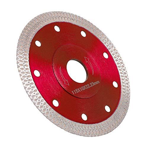 Disco Diamantato 115mm Sottile professionale Taglio a secco con taglio a umido per gres porcellanato, graniti, ceramica, quarzite, marmo (Rosso)
