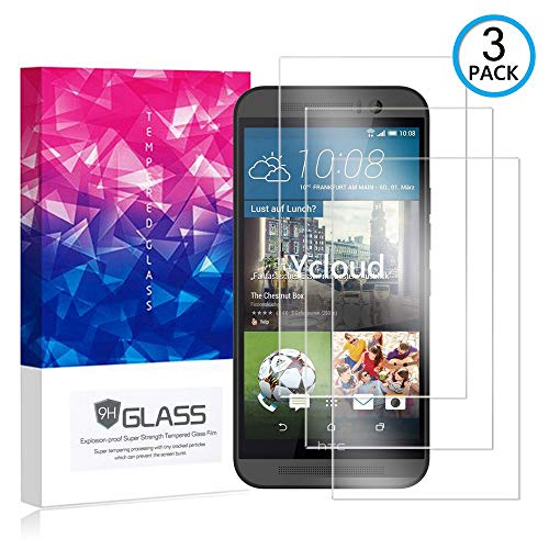 Ycloud [3 Pack] Protector de Pantalla para HTC One M9 (5 Pulgada),[9H Dureza/0.3mm],[Alta Definicion] Cristal Vidrio Templado Protector para HTC One M9 (5 Pulgada)