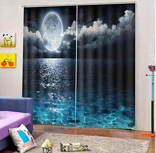 MUXIAND Sky Lake Moonlight Gordijn 3D verduisteringsvenster woonkamer gordijnen donkerblauw voor slaapkamer verduisteringsgordijn