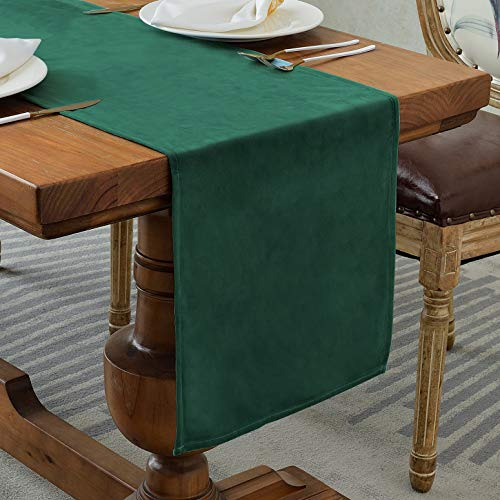 Balcony&Falcon Samt Tischläufer Modern Abwaschbar Tischläufer Tischdecke Elegante Heimtextilien für Den Innen- und Außenbereich Tischdekoration Tischläufer Wien (Velvetsdunkelgrün, 35 x 180 cm)