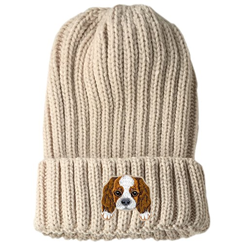 [ Cavalier King Charles Spaniel ] Cute Embroidered Puppy Dog Warm Knit Fleece Winter Beanie Skull Cap [ Beige ]