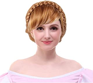 Angelaicos Womens Brown Wig Halloween Cosplay Short Braid Updo Wigs