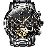 OLEVS Mens Watch Automatic Mechanical Tourbillon Slef-Wind Black Watch Luxury Stainless Steel Date Calendar Week Waterproof Luminous Wrist Watch