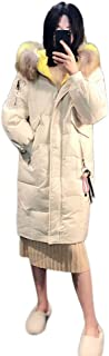 Women's Down Jacket Outdoor Cold and Windproof Casual Thick Warm Warm Slim Fur Collar Hooded Zipper Women's Clothing (Color : Beige, Size : XXL)