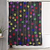 Hotyle H& Pfotenabdrücke Badezimmer Duschvorhänge 8 Eisen Haken enthalten 90 x 180 cm