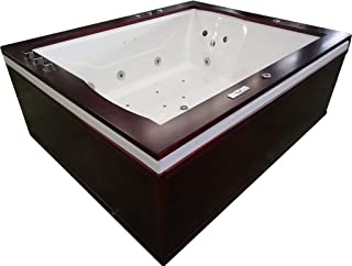2 Person Luxury Massage Hydrotherapy Solid Wood Corner Bathtub Tub Whirlpool, with Bluetooth, Remote Control, Inline Water Heater, and 27 Total Jets