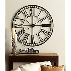 37 Black and Gold Battery Operated Over-Sized Classic Metal Wall Clock