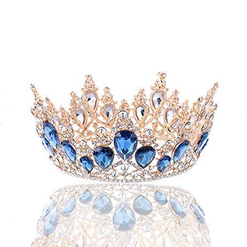 Corona Nupcial Super Flash Rhinestone Corona Redonda Accesorios para el Cabello Vestido...