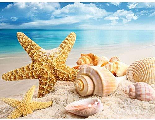 XINTONG Puzzle 1000 Piezas Conchas de Estrellas de mar en la Playa del mar DIY Rompecabezas de Madera Estilo de decoración del hogar