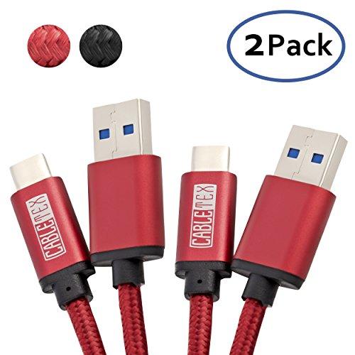 USB C Kabel auf USB 3.1 Typ A Set [2 Stück] 1,5 Meter Ladekabel Nylon Textilkabel Datenkabel für USB 3.0 Computer und Smartphones wie Galaxy S8, S8+, OnePlus 3, HTC 10, MacBook Pro und mehr - ROT