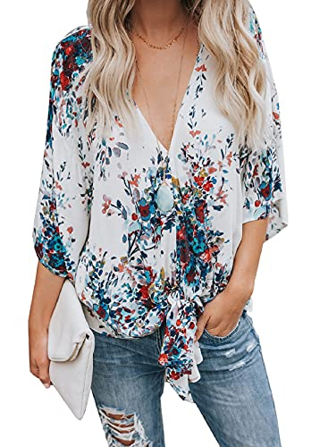 Product Image of the Womens Floral Blouses Tie Front V Neck Loose Fit Summer Blouses Short Sleeve...