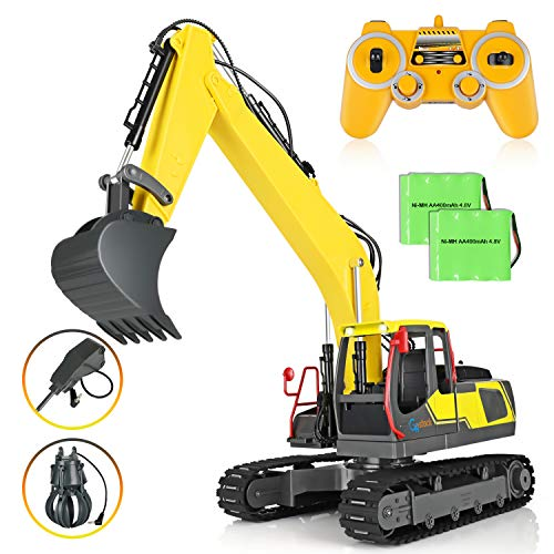 Remote Control Truck RC Excavator Toy, GoStock Imports Oversized Construction Excavator Truck Toy for Kids with Metal Shovel Arm Claw 17 Channel 3 in 1 Claw Drill