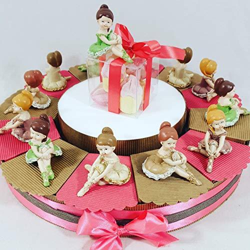 Sindy Bonboniere voor gastgeschenk ballerina's met porseleineffect, hars, roze/wit/koraal, 4 cm