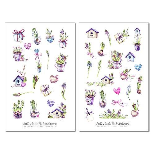 Frühling Pflanzen Sticker Set - Planer Sticker, Journal Sticker, Garten, Pflanzen, Natur, Blumen, Frühling, Grün, Vogelhaus