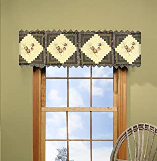 Valance - Barn Raising Pine Cone by Donna Sharp - Lodge Decorative Window Treatment with Pine Cone Pattern