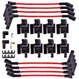 MAS Square Ignition Coil UF271 With One Set Permanence Spark Plug Wires Compatible with CHEVY/CADILLAC/GMC ESCALADE SILVERADO 1500-3500 SIERRA 1500-3500 HUMMER H2 4.6L 5.3L 6.0L 6.2L (Pack of 8)