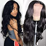 Muokass T-Part Lace Closure Wigs Body Wave Brazilian Virgin Human Hair Wigs For Black Women 4X1 HD Lace Front Wigs Human Hair 150% Density Pre Plucked Natural Color(18 Inch, Natural Color)