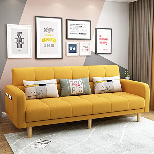 Modern Fabric Folding Sofa, Futon Couch Sleeper Sofas, Living Room Loveseat Seating And Sofa Bed, Multifunctional Pull-Out Couch Sofa Convertible Bed Furniture for Apartment,yellow,2.0M